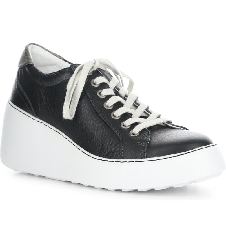 FLY LONDON Dile Wedge Sneaker, Main, color, BLACK BRITO