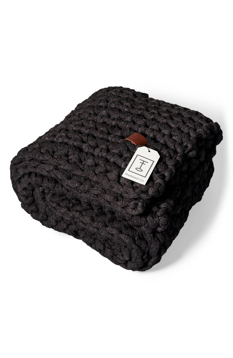 SHELTERED CO. Weighted Blanket, Main, color, HEATHER CHARCOAL