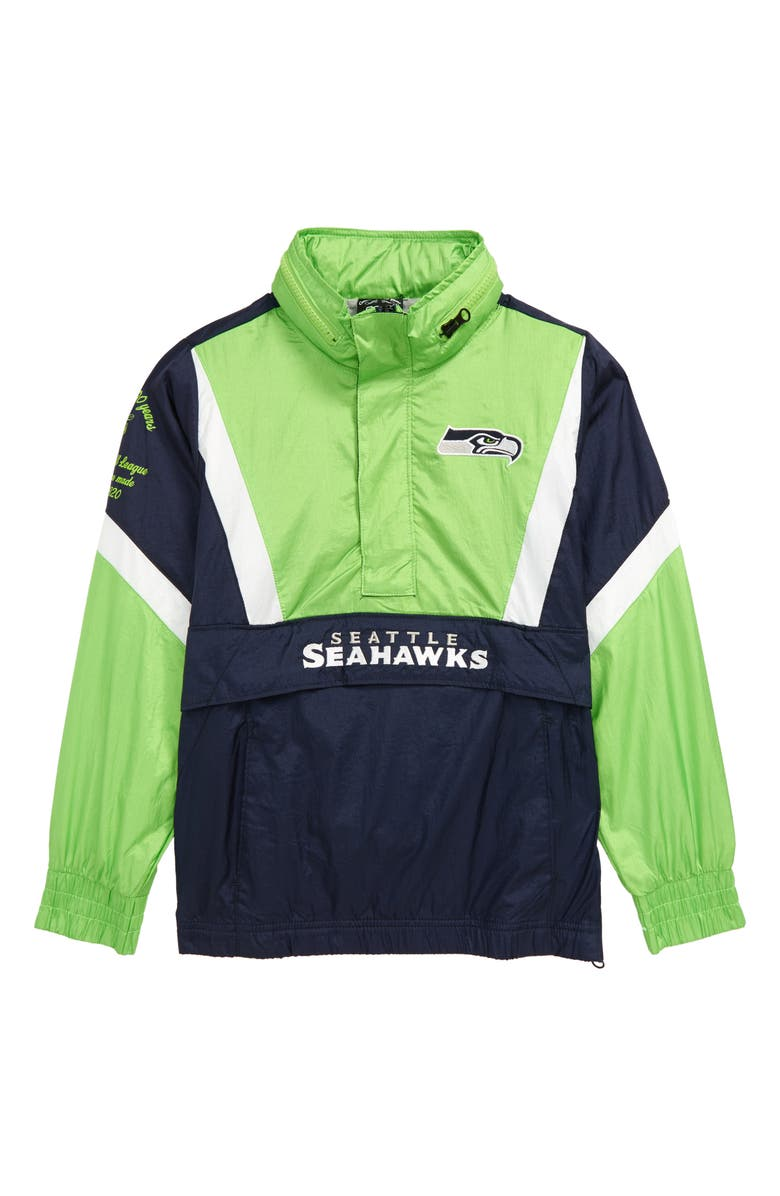 OUTERSTUFF NFL Logo Seattle Seahawks Crinkle Nylon Half Zip Pullover, Main, color, 400