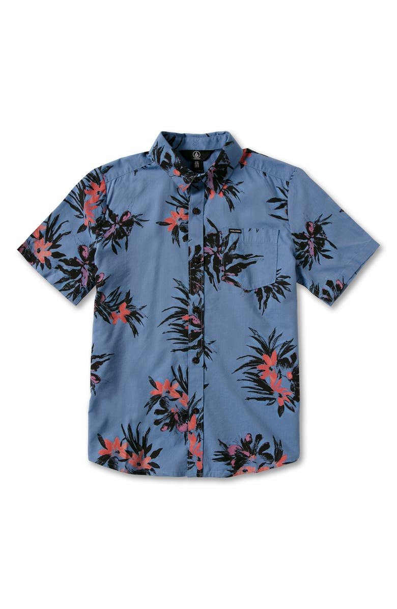 VOLCOM Kids' Floral Button-Up Shirt, Main, color, BALLPOINT BLUE