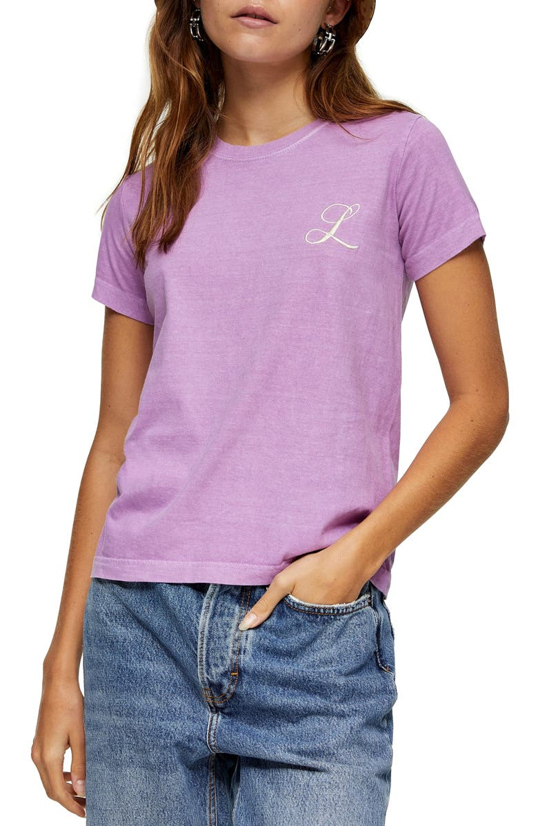 TOPSHOP Embroidered Letter T-Shirt, Main, color, Purple