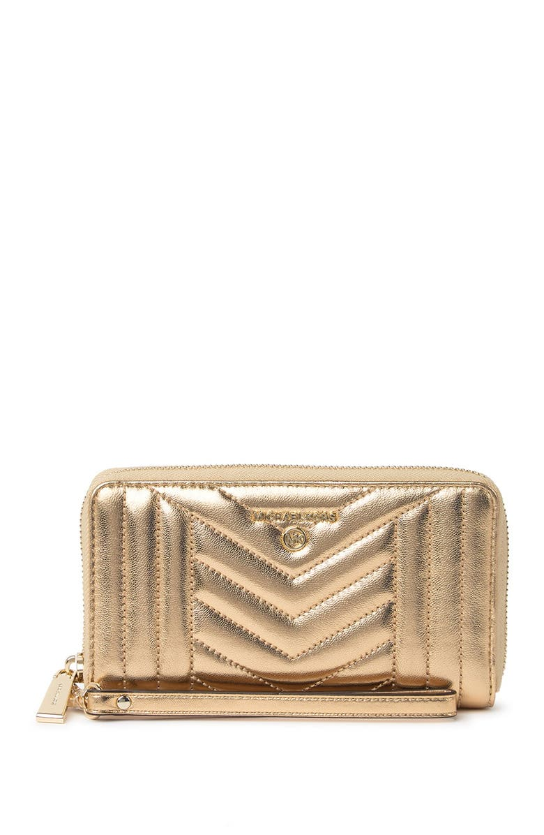 MICHAEL MICHAEL KORS Large Flat Quilted Leather Wristlet Clutch, Main, color, PALE GOLD