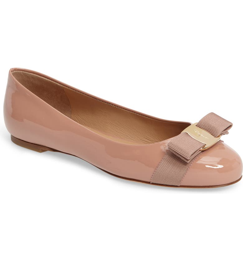 SALVATORE FERRAGAMO Varina Leather Flat, Main, color, NEW BLUSH PATENT