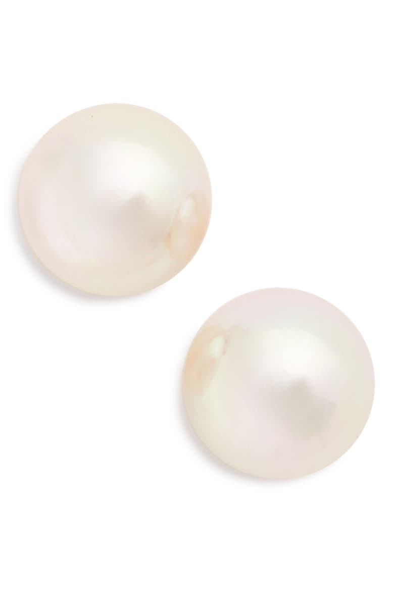 MAJORICA Round Simulated Pearl Stud Earrings, Main, color, 100