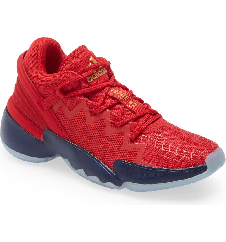ADIDAS Kids' D.O.N. Issue #2 Basketball Shoe, Main, color, SCARLET/ TEAM NAVY BLUE/ GOLD