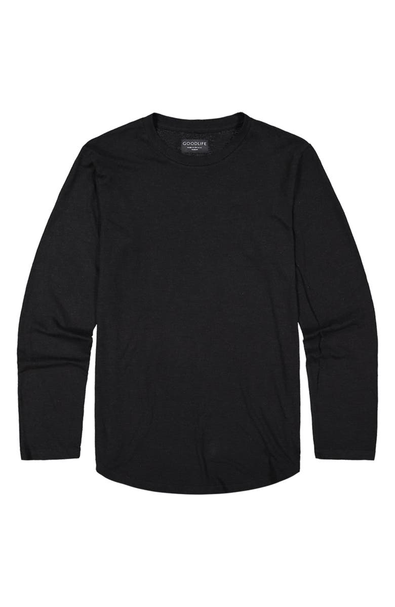 GOODLIFE Overdyed Scallop Long Sleeve T-Shirt, Main, color, BLACK
