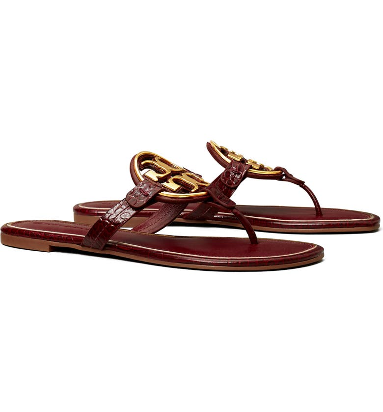 TORY BURCH Miller Metal Logo Leather Sandal, Main, color, ROMA RED