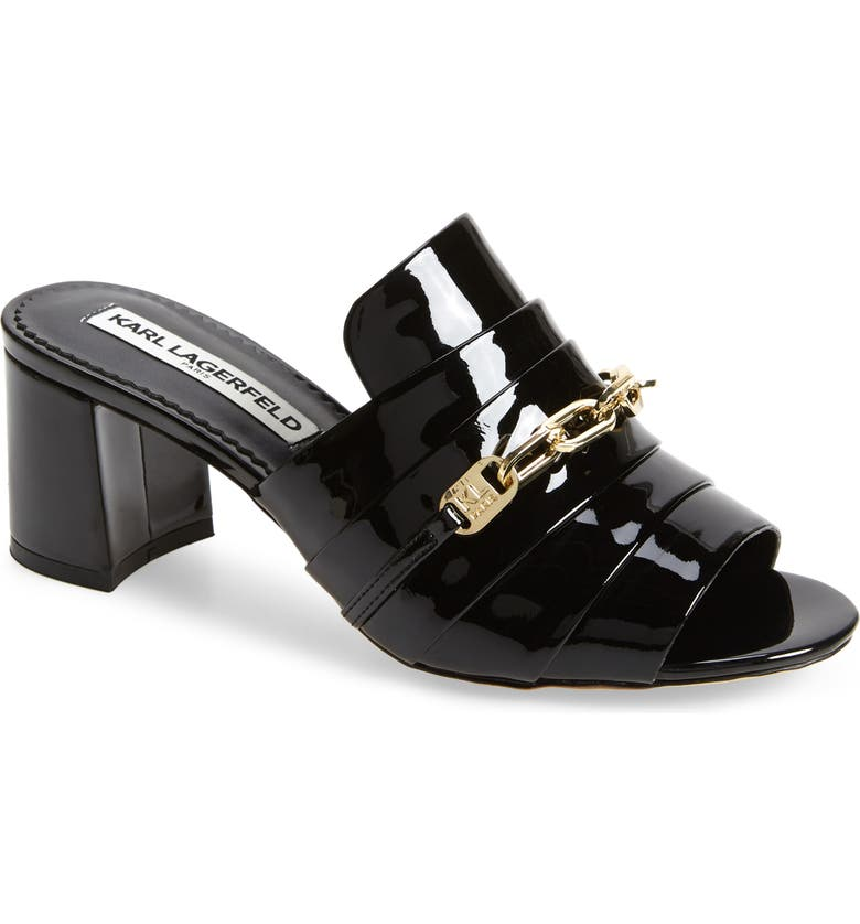 KARL LAGERFELD PARIS Chain Detail Patent Leather Mule, Main, color, 001