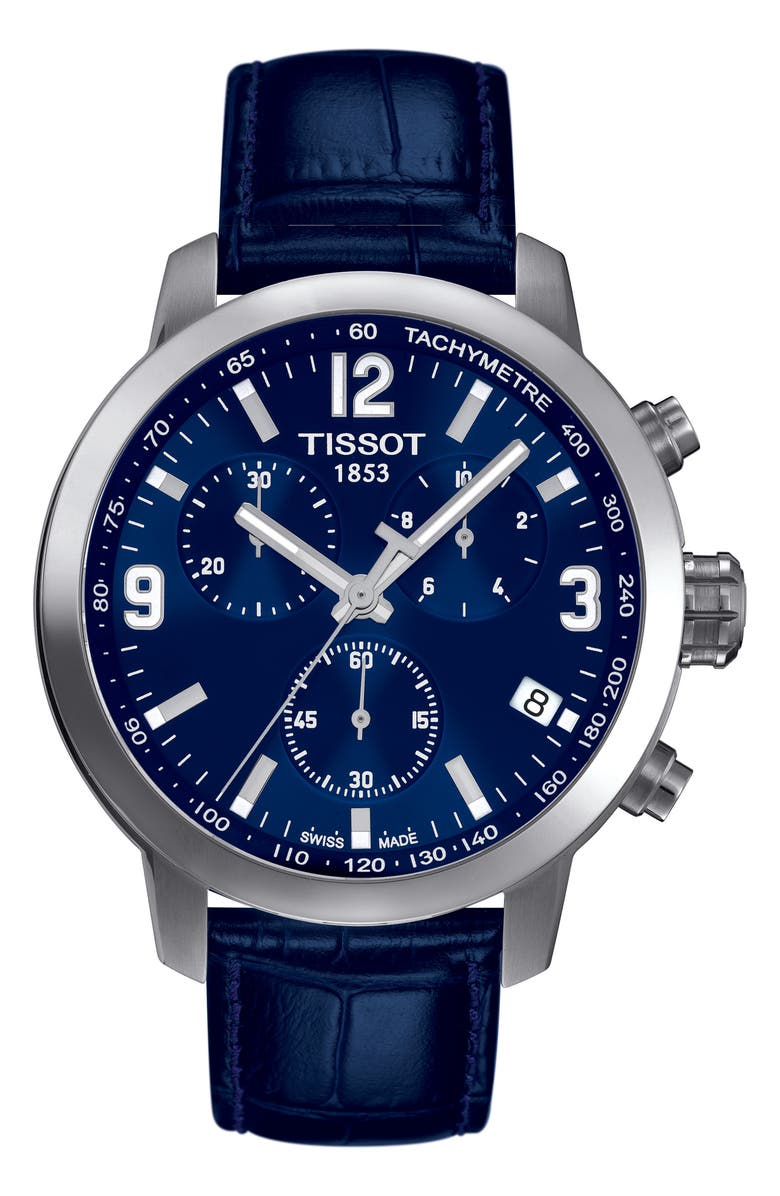 TISSOT PRC200 Chronograph Leather Strap Watch, 41mm, Main, color, BLUE/ SILVER