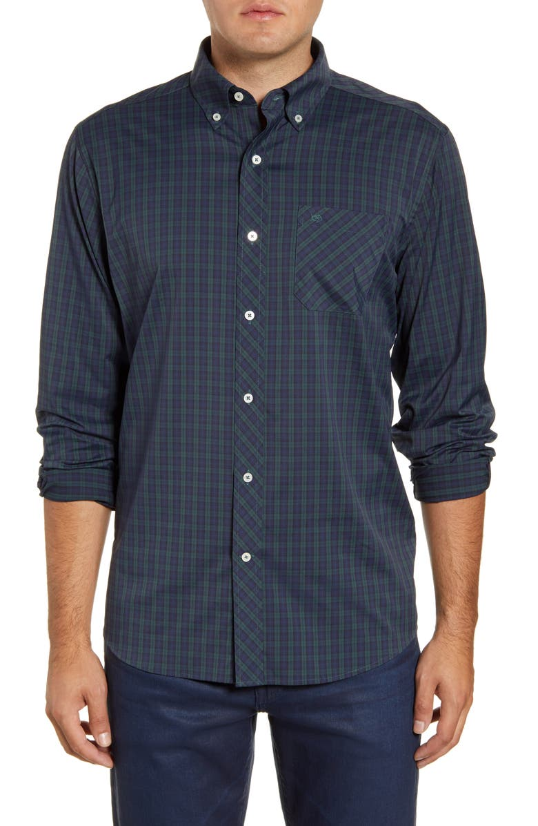 SOUTHERN TIDE Intercoastal Mistletoe Plaid Button-Down Performance Shirt, Main, color, 330