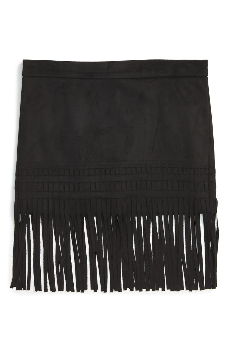 BLANKNYC 'Seal the Deal' Faux Suede Fringe Skirt, Main, color, 001