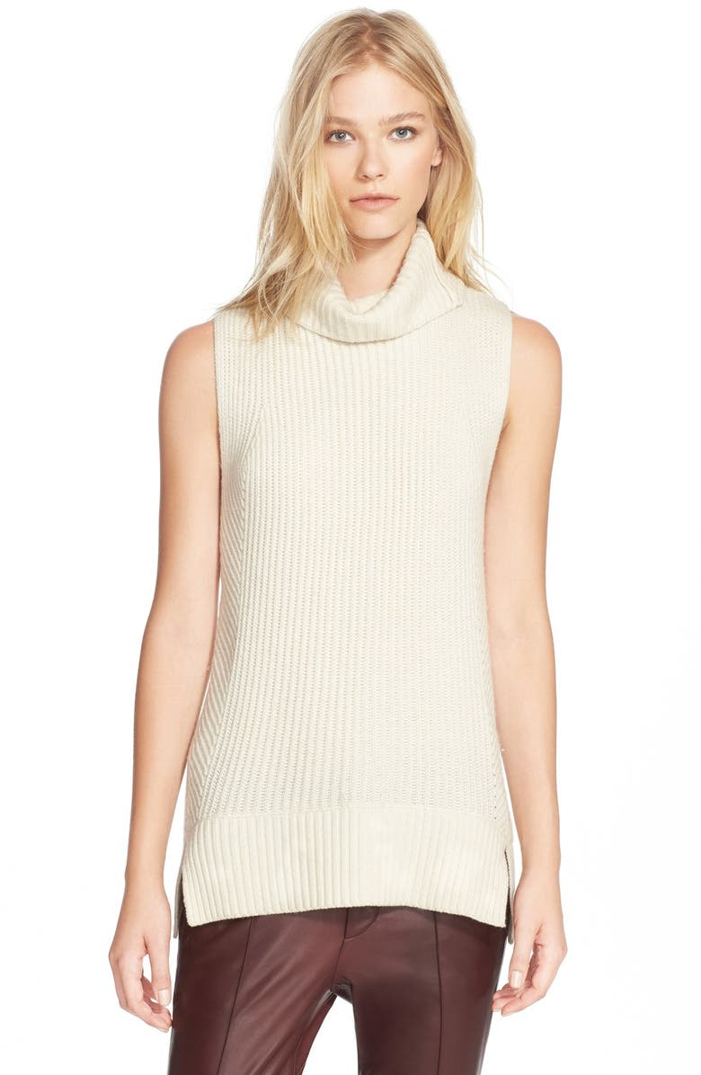 VINCE Sleeveless Ribbed Wool Turtleneck, Main, color, OFF WHITE