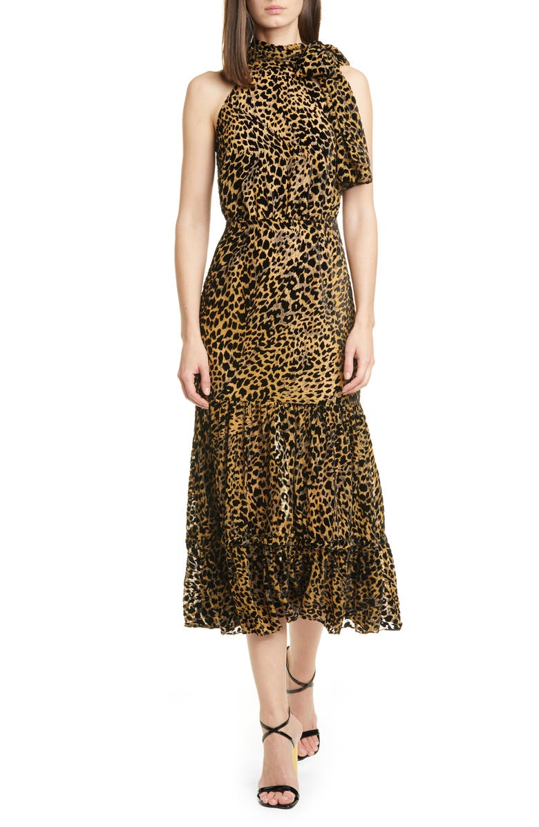RIXO Eleanor Leopard Burnout Midi Dress, Main, color, 240