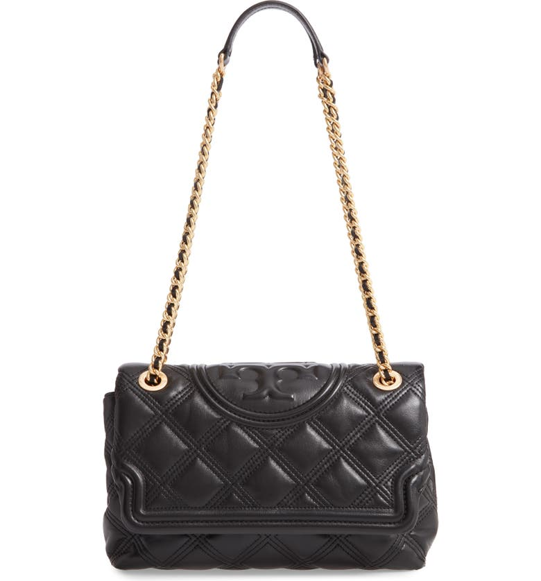 TORY BURCH Fleming Soft Quilted Lambskin Leather Shoulder Bag, Main, color, 001
