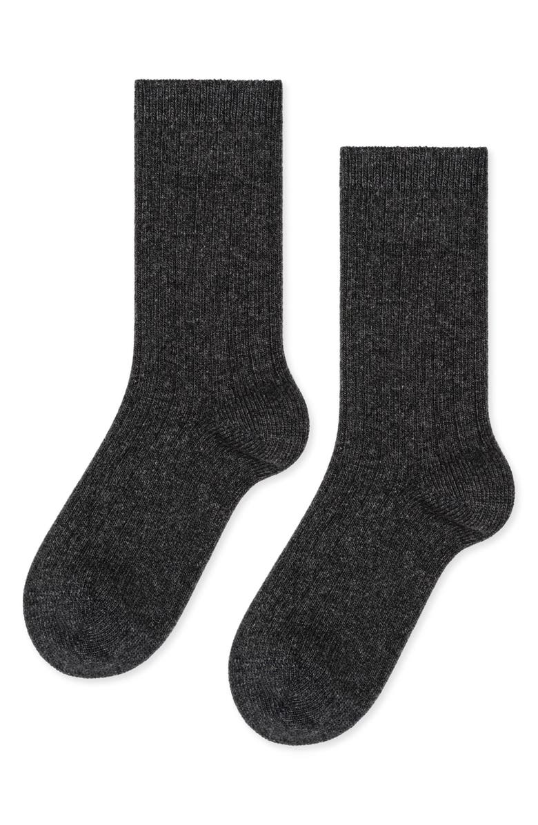 HANSEL FROM BASEL Rib Cashmere Blend Crew Socks, Main, color, 020
