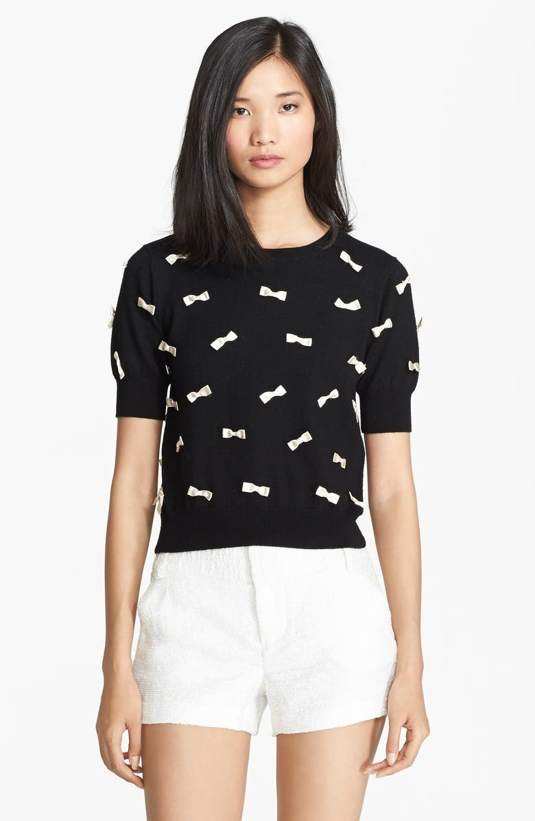 ALICE + OLIVIA Bow Detail Sweater, Main, color, 001