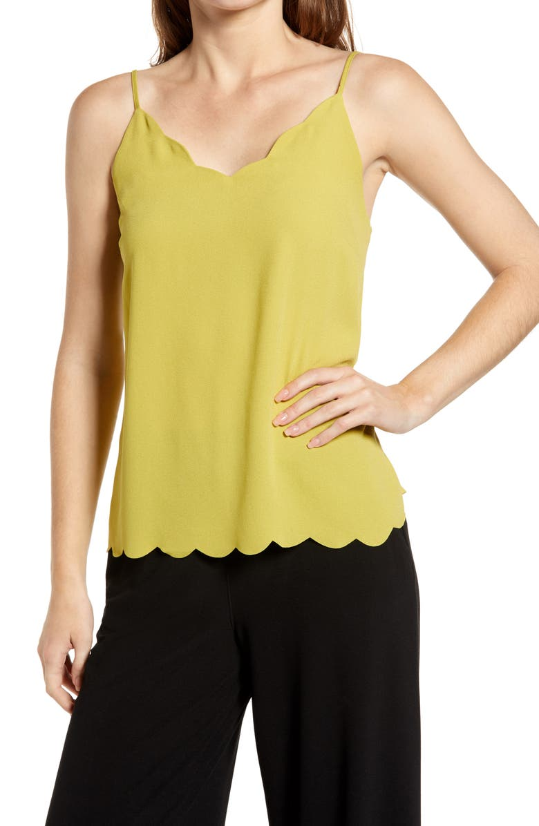 HALOGEN<SUP>®</SUP> Scallop Detail Camisole, Main, color, OLIVE OASIS