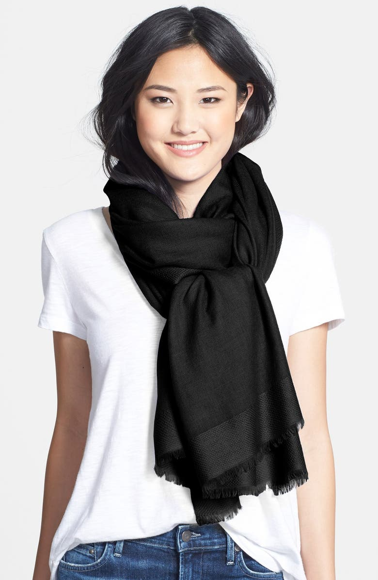 NORDSTROM Tissue Weight Wool & Cashmere Wrap, Main, color, 001