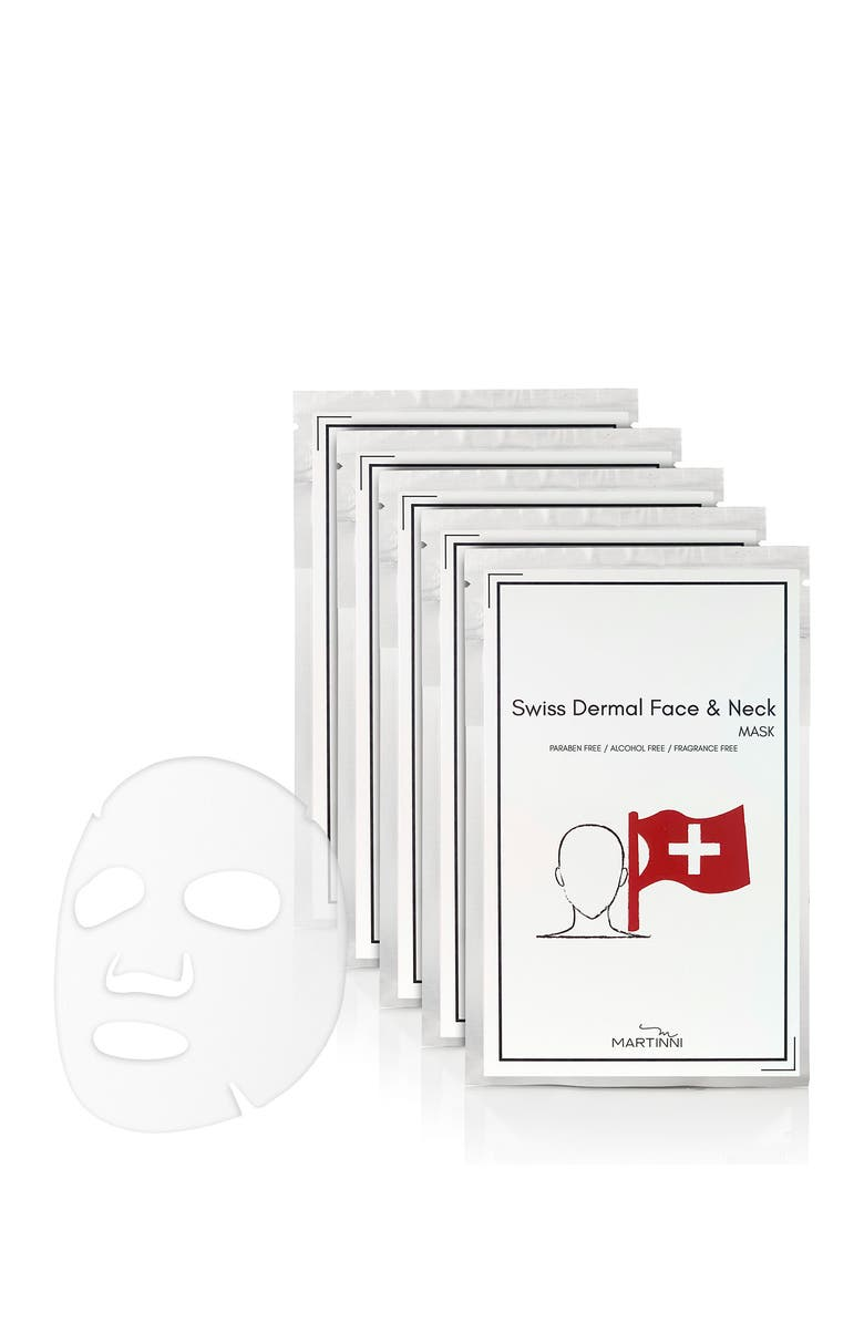 MARTINNI Swiss Dermal Face & Neck Mask - Pack of 5, Main, color, NO COLOR