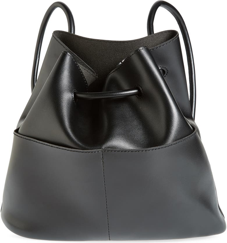 BP. Faux Leather Drawstring Backpack, Main, color, 001