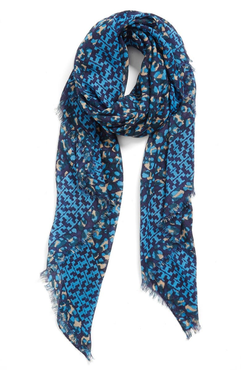 TORY BURCH 'Panthra - Small T' Wool Scarf, Main, color, 400