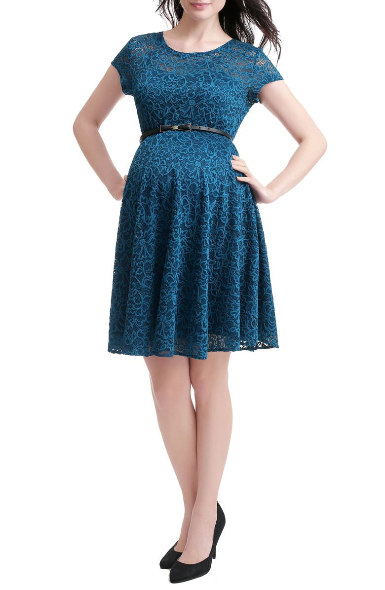 KIMI AND KAI Lace Maternity Skater Dress, Main, color, TEAL