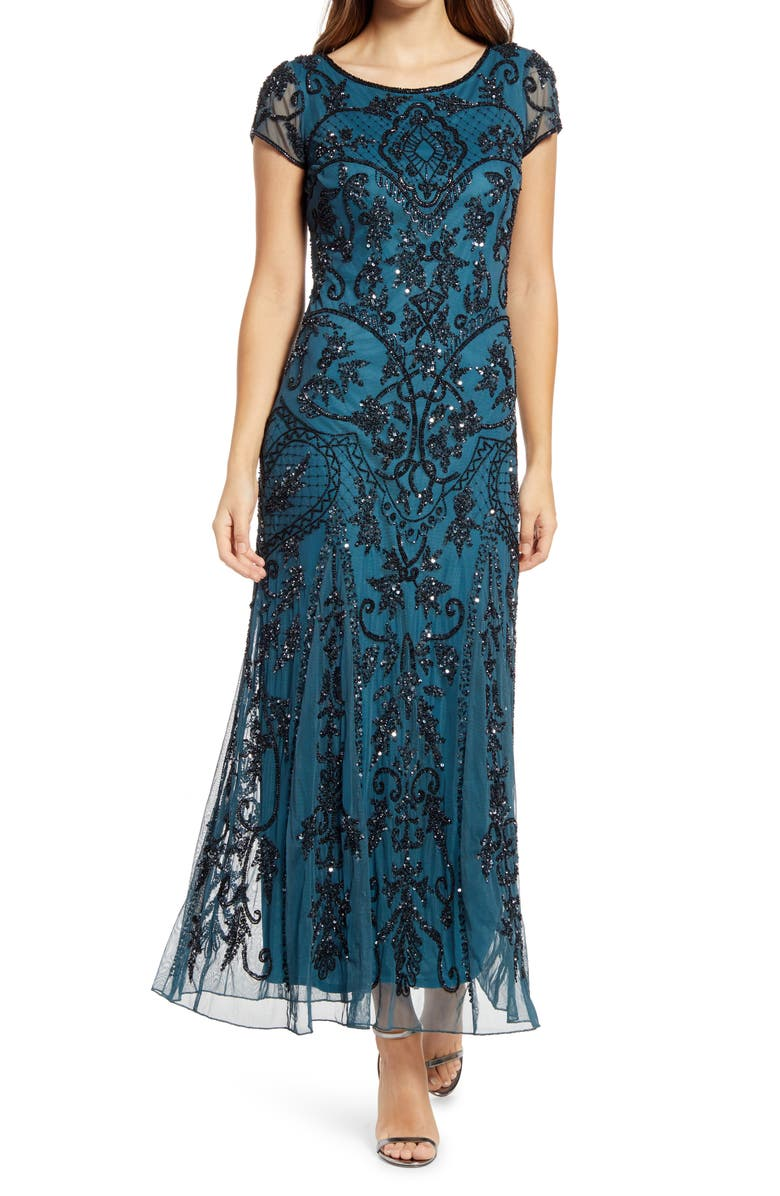 PISARRO NIGHTS Embellished Mesh Gown, Main, color, EMERALD