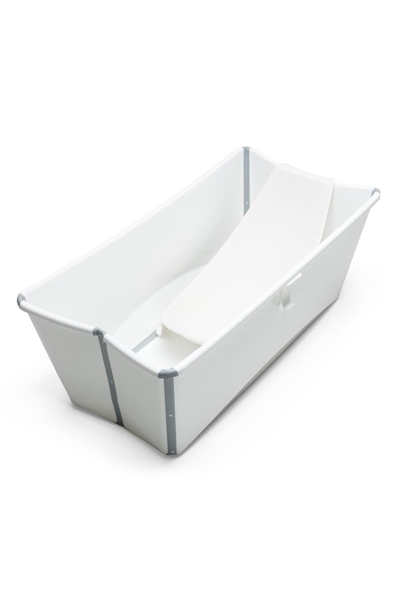 STOKKE Flexi Bath<sup>®</sup> Foldable Baby Bath Tub with Temperature Plug & Infant Insert, Main, color, WHITE