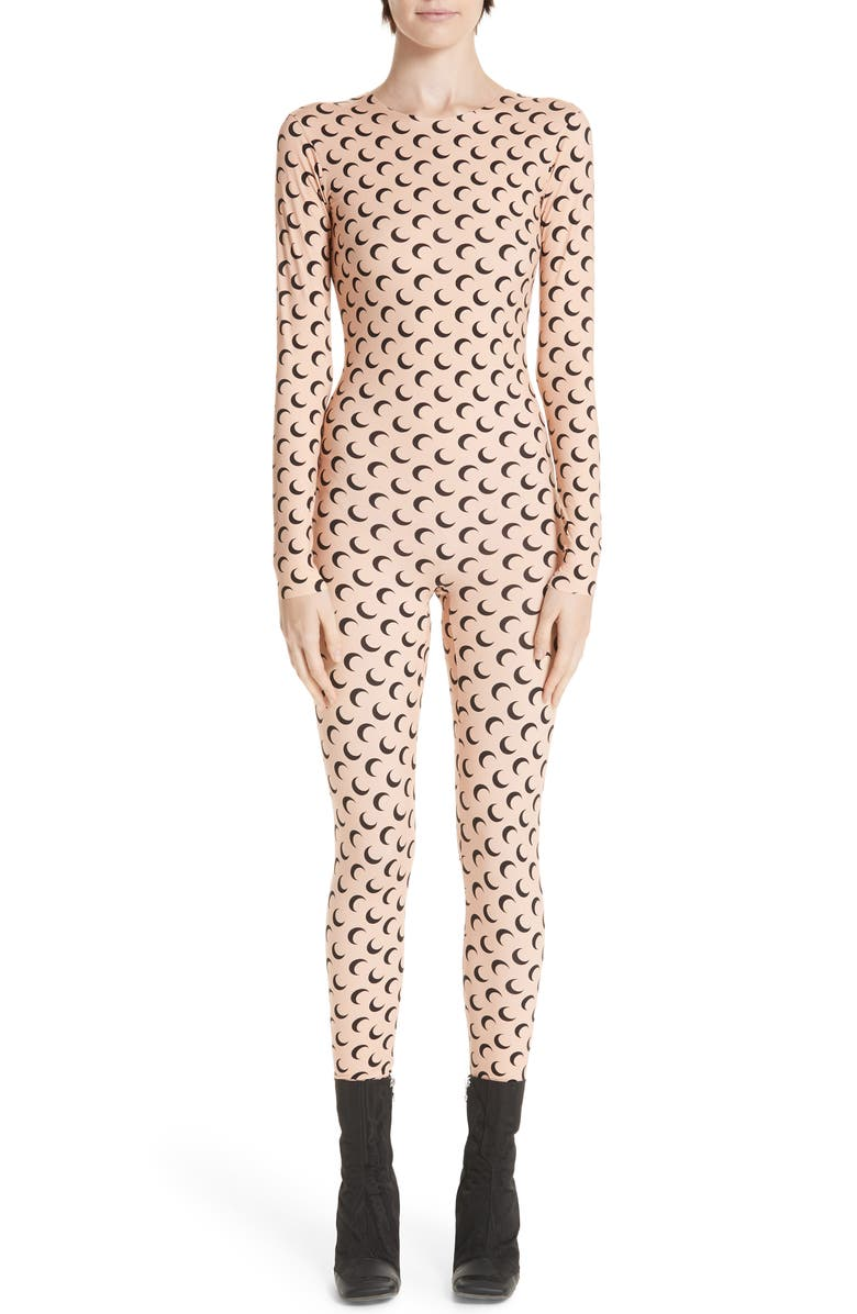 MARINE SERRE Moon Print Catsuit, Main, color, ALL OVER MOON TAN