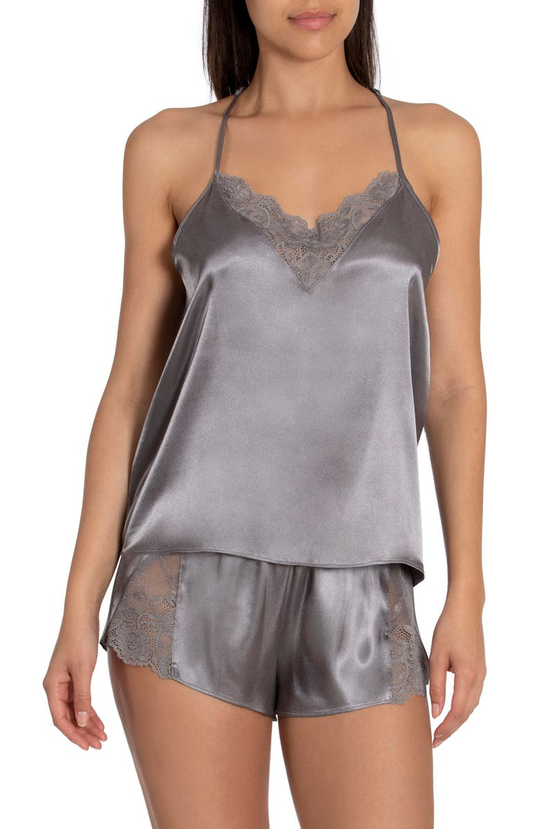 IN BLOOM BY JONQUIL Grace Short Satin Pajamas, Main, color, SILVER FILIGREE