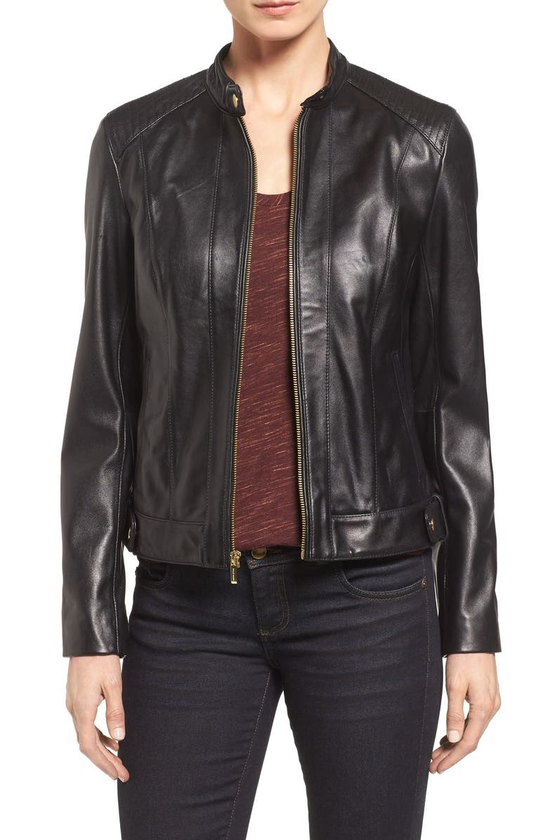COLE HAAN SIGNATURE Cole Haan Leather Moto Jacket, Main, color, 001