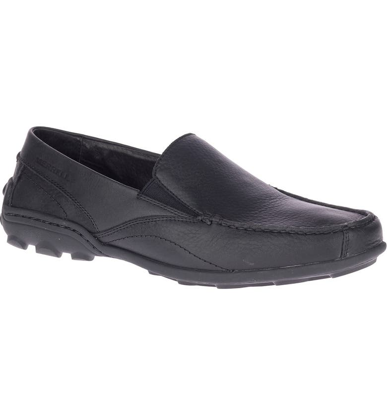 MERRELL Rally 2 Leather Moc Loafer, Main, color, MOC BLACK