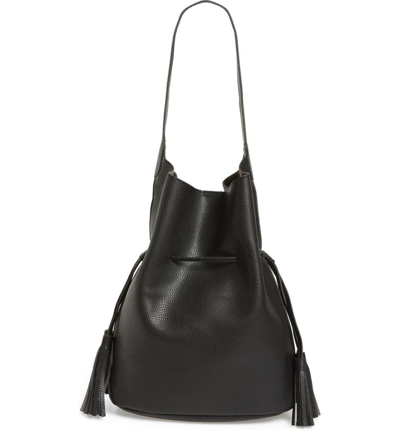 STREET LEVEL Drawstring Faux Leather Bucket Bag, Main, color, 001