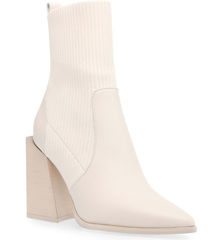 STEVE MADDEN Tackle Pointed Toe Bootie, Main, color, BONE LEATHER