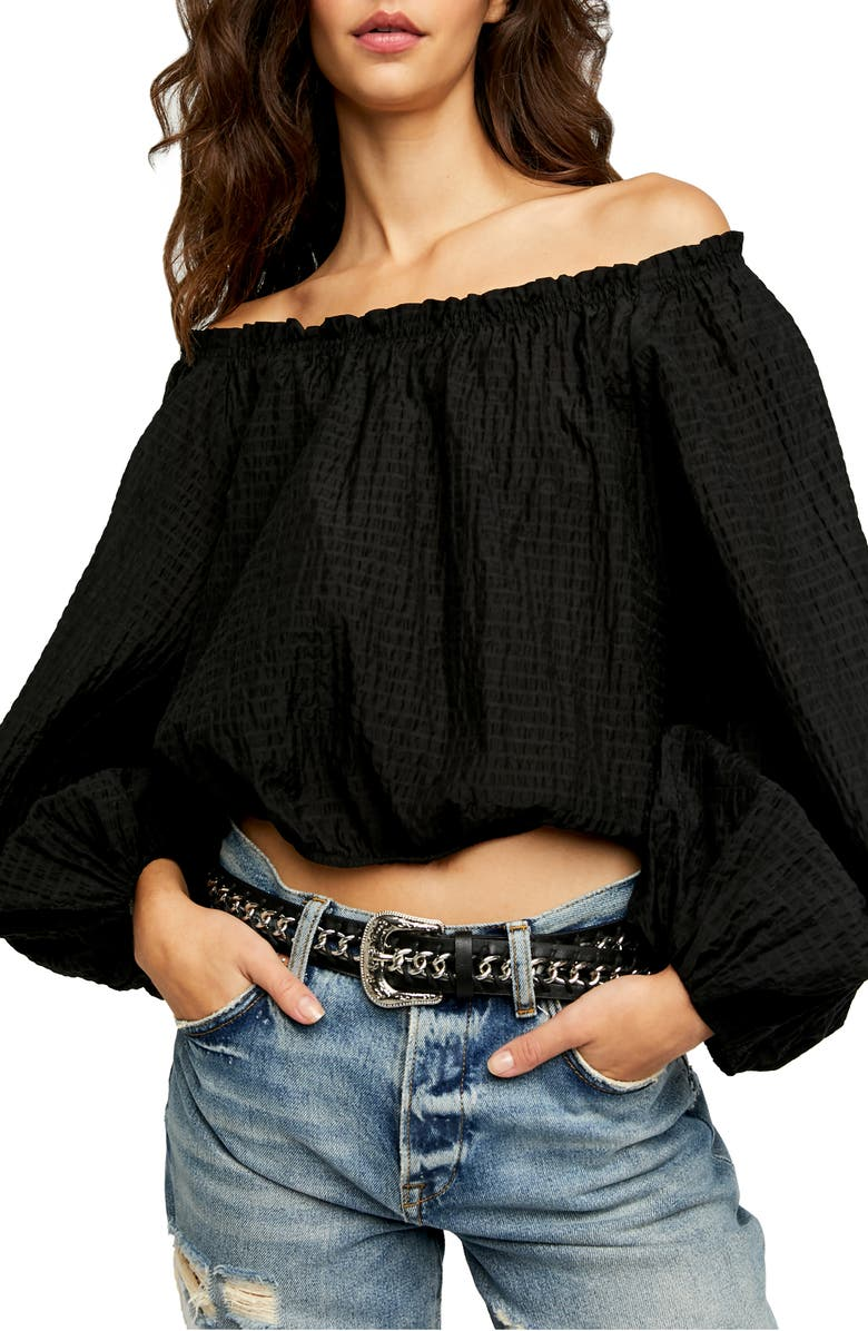 FREE PEOPLE Alicia Off the Shoulder Top, Main, color, 001