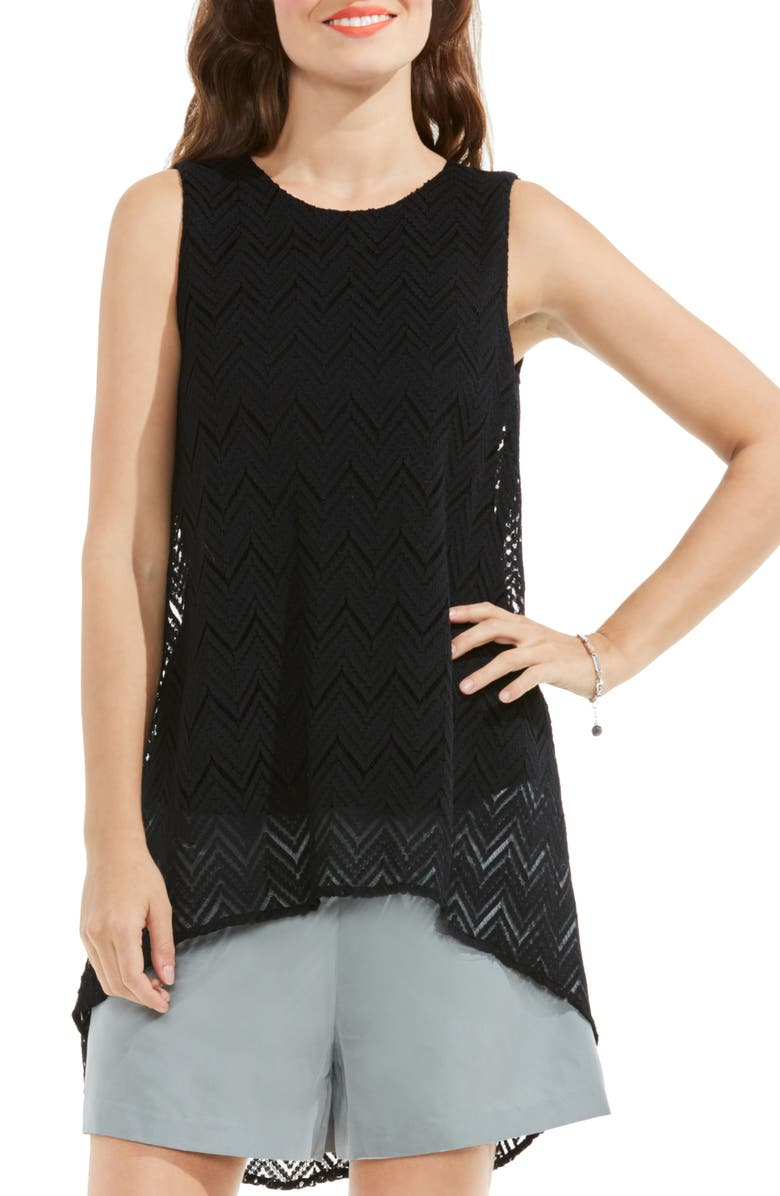 VINCE CAMUTO High/Low Herringbone Lace Blouse, Main, color, 006