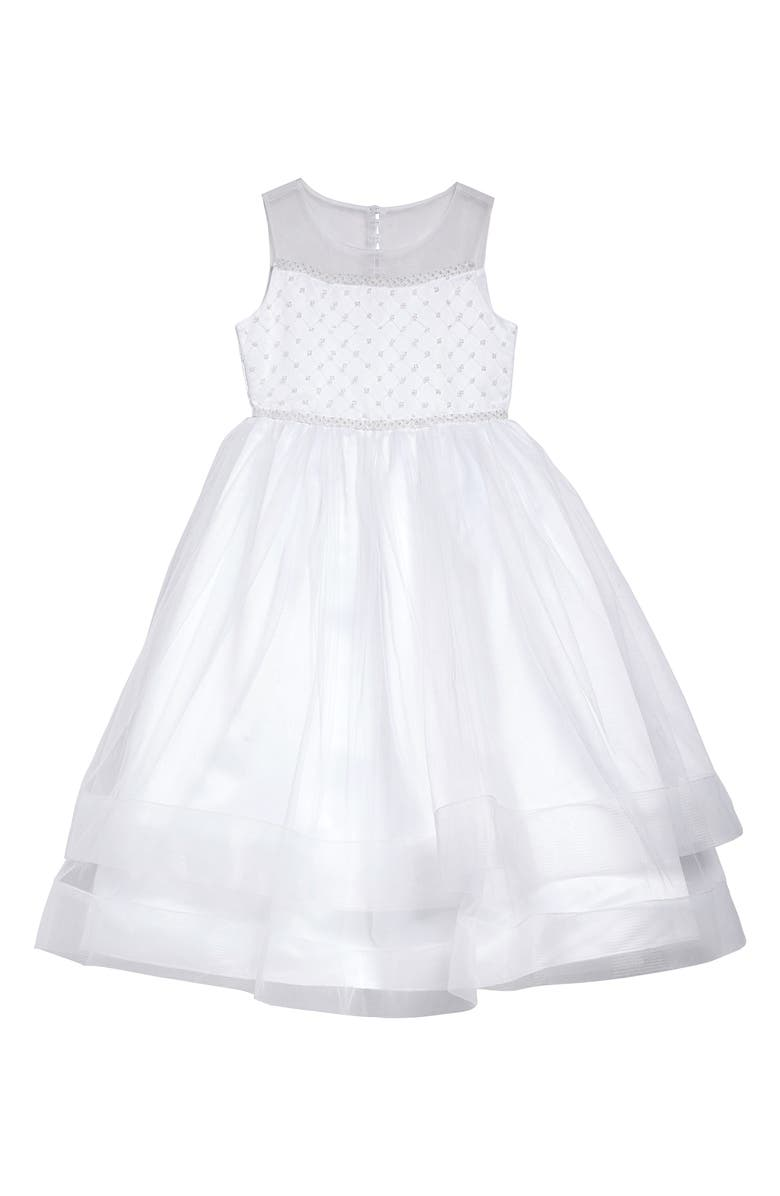 IRIS & IVY Beaded Illusion Tulle First Communion Dress, Main, color, 100
