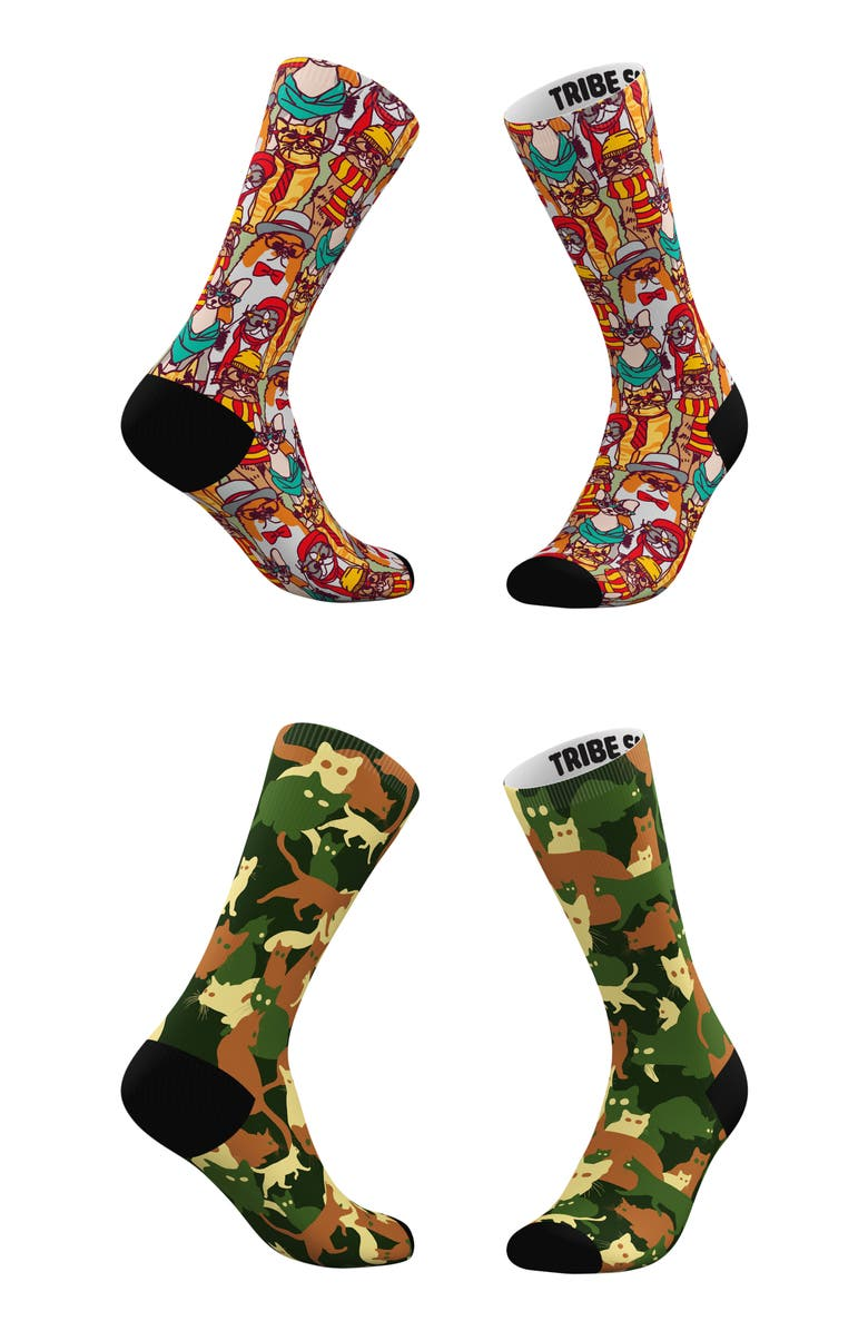 TRIBE SOCKS Assorted 2-Pack Hipster Cats & Classic Camo Cats Crew Socks, Main, color, GREEN CAMO MULTI