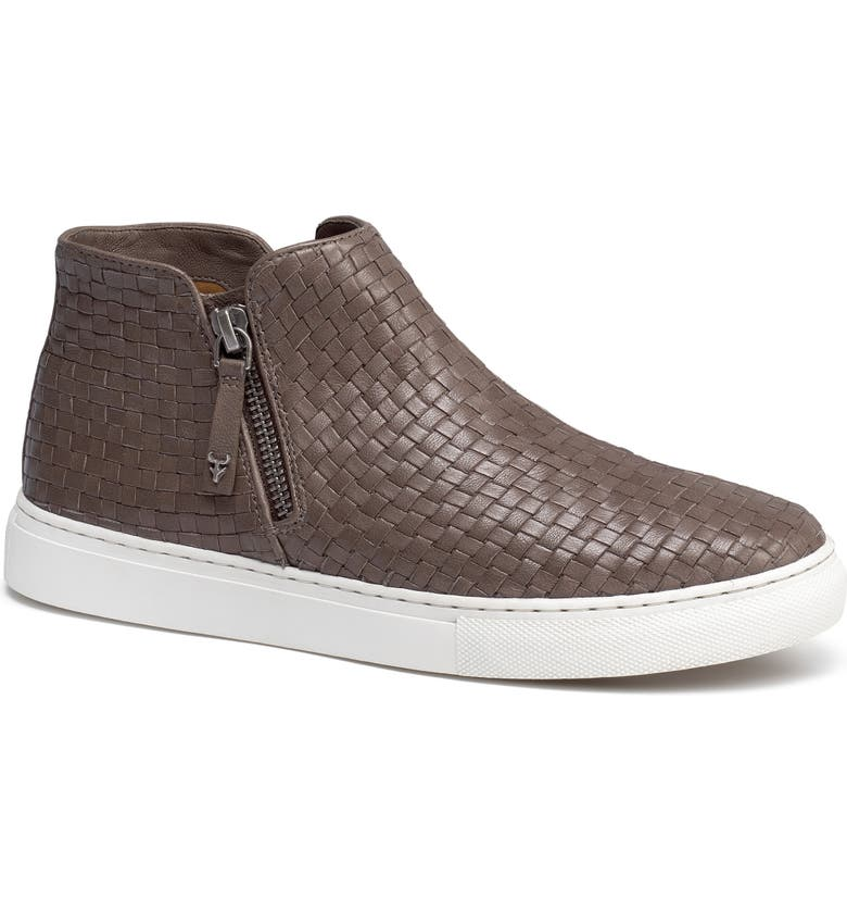TRASK Lora Woven Sneaker Bootie, Main, color, GREY LEATHER