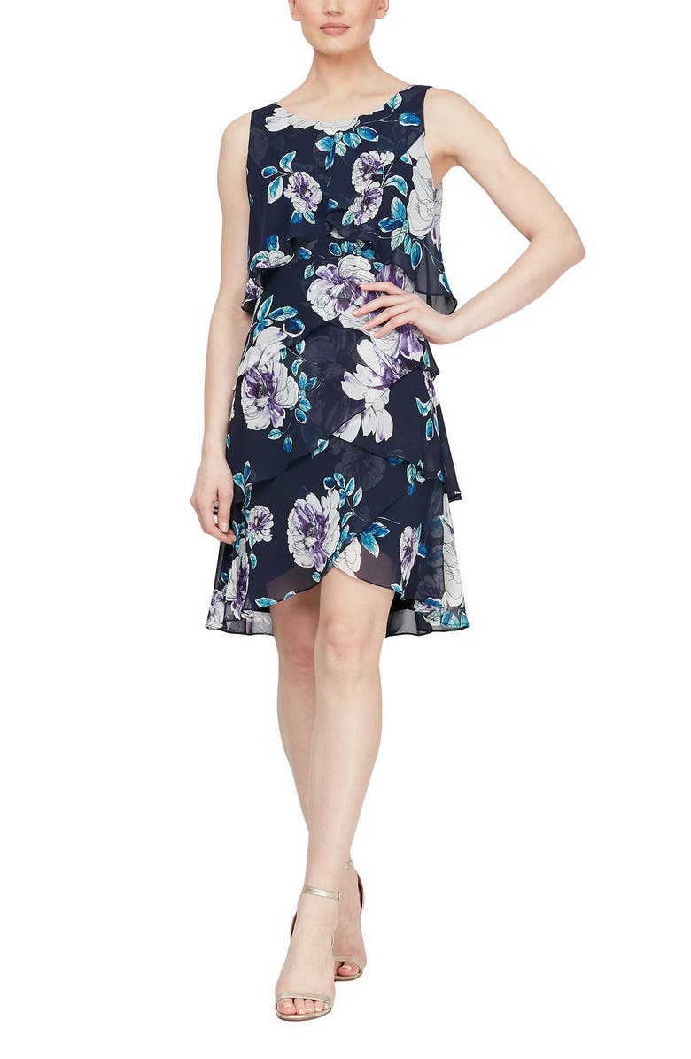 SLNY Chiffon Floral Print Day Tiered Dress, Main, color, NML