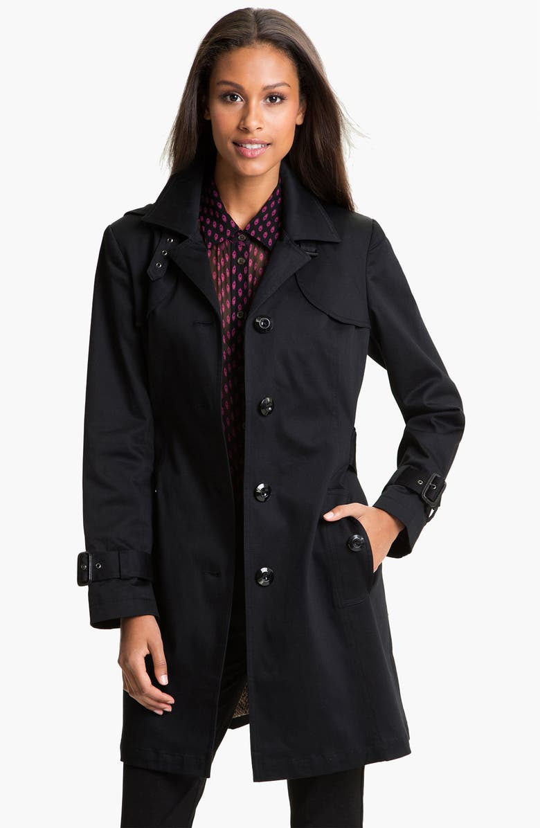 GALLERY Single Breasted Trench Coat, Main, color, 001
