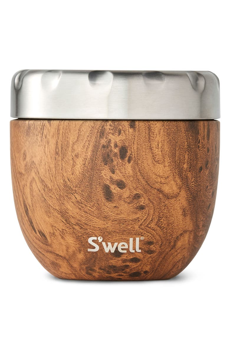 S'WELL Teakwood Eats<sup>™</sup> Insulated Stainless Steel Bowl & Lid, Main, color, TEAKWOOD