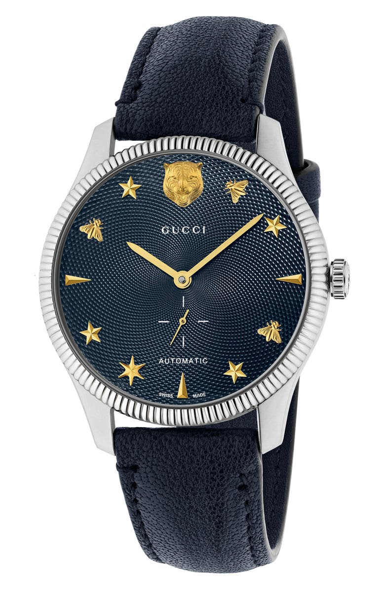 GUCCI G-Timeless Leather Strap Watch, 40mm, Main, color, BLUE/ BLUE/ SILVER