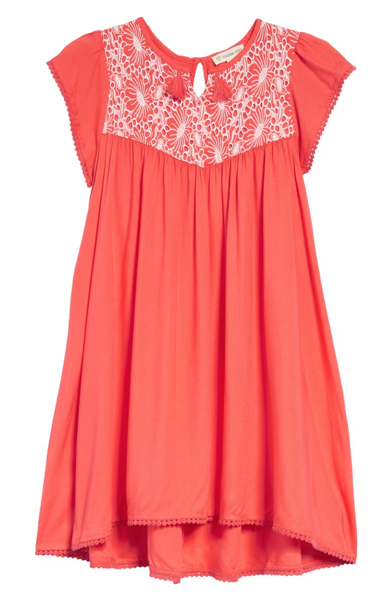 TUCKER + TATE Embroidered Tassel Dress, Main, color, CORAL GLOW