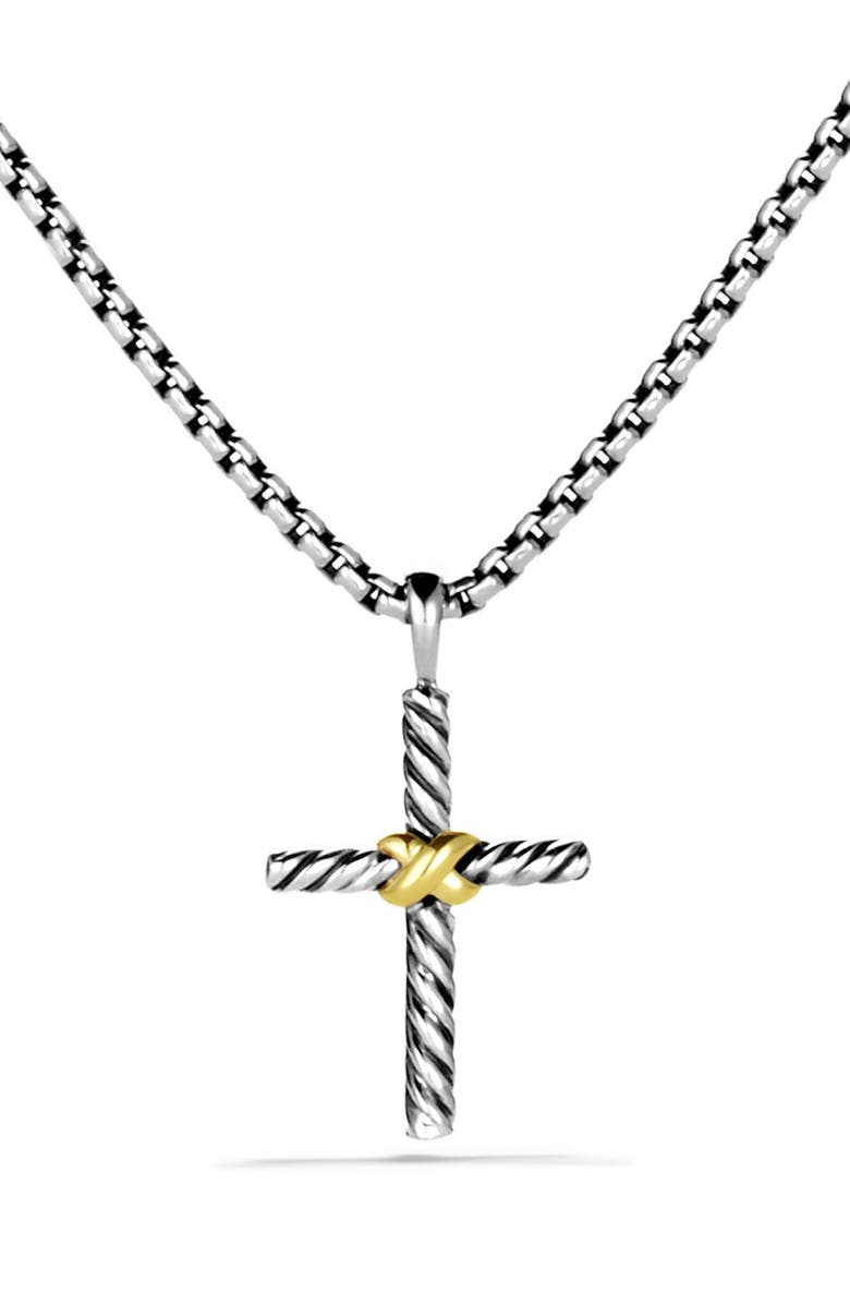 DAVID YURMAN X Cross with Gold on Chain, Main, color, TWO TONE