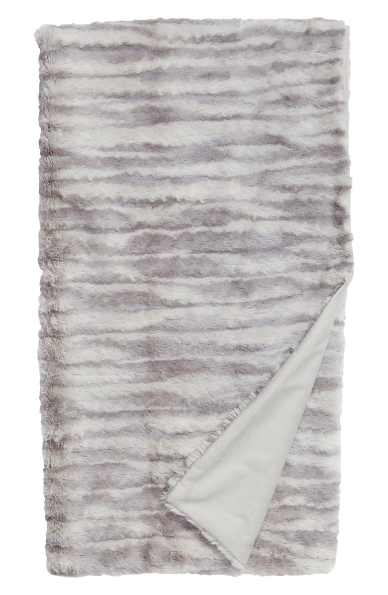 NORDSTROM at Home Soft Ribbed Plush Throw, Main, color, GREY FROST PRINT