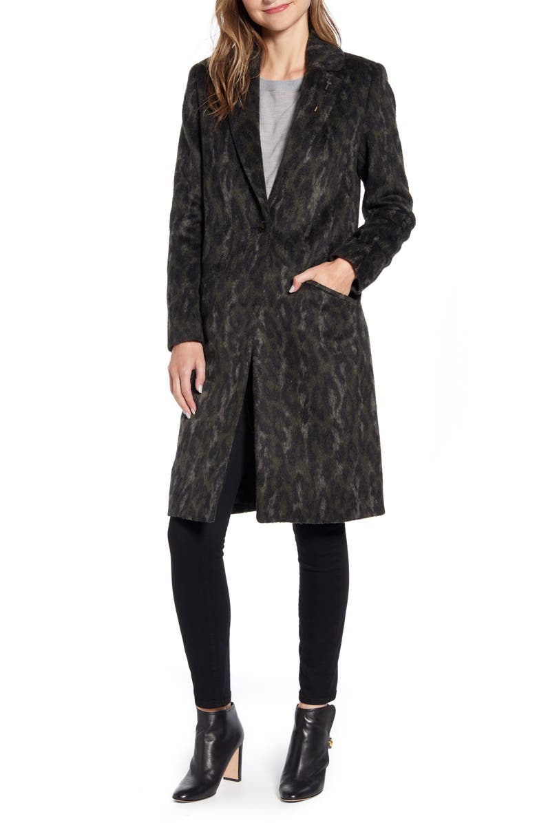 TED BAKER LONDON Illena Leopard Print Cocoon Coat, Main, color, 312