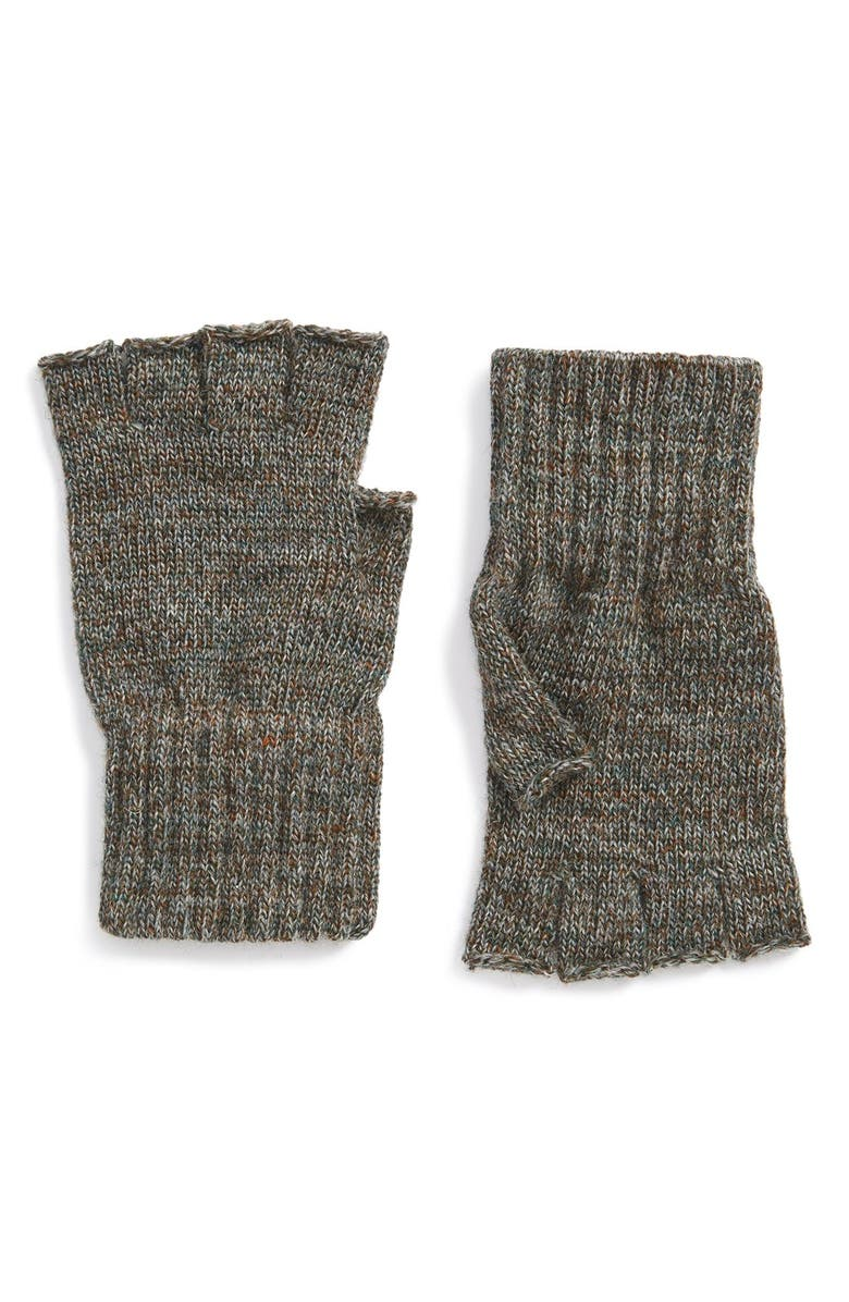 BARBOUR Fingerless Wool Gloves, Main, color, GREEN