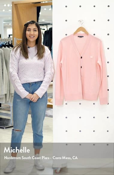 Keve Face Patch Wool Cardigan, sales video thumbnail