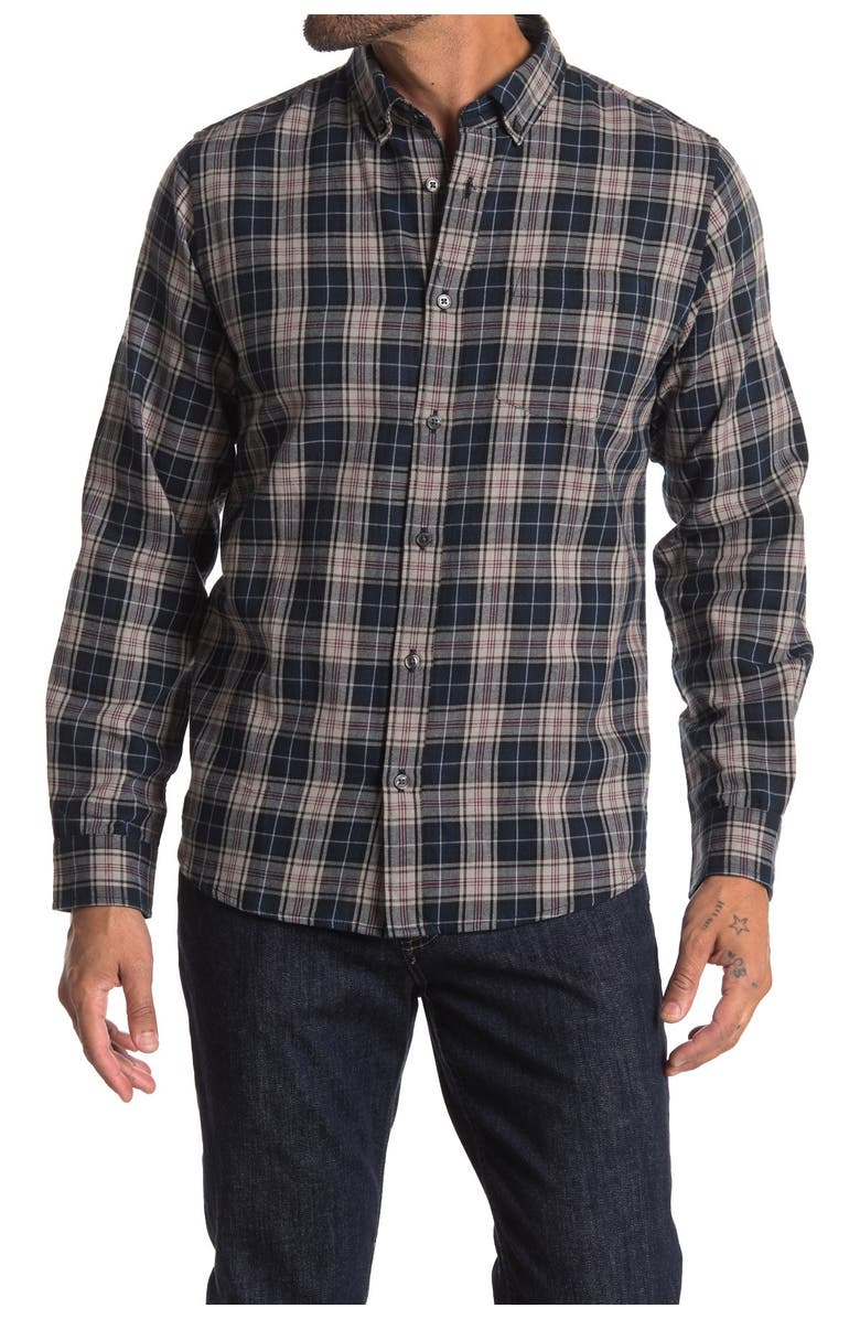 SLATE AND STONE Plaid Regular Fit Flannel Shirt, Main, color, RED STRIPED BLUE PLAID